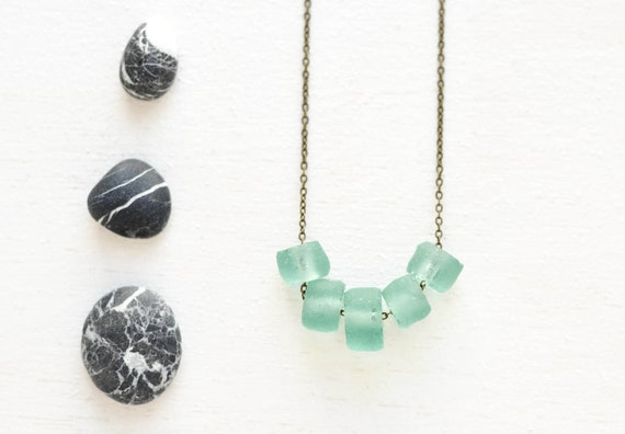 Mint chunky sea green glass necklace - recycled glass jewelry - green - blue - grey - black