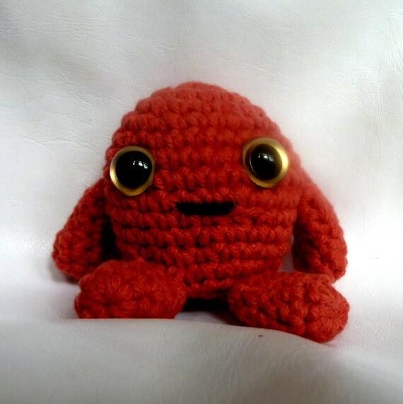 Crochet amigurugi red cute alien monster baby