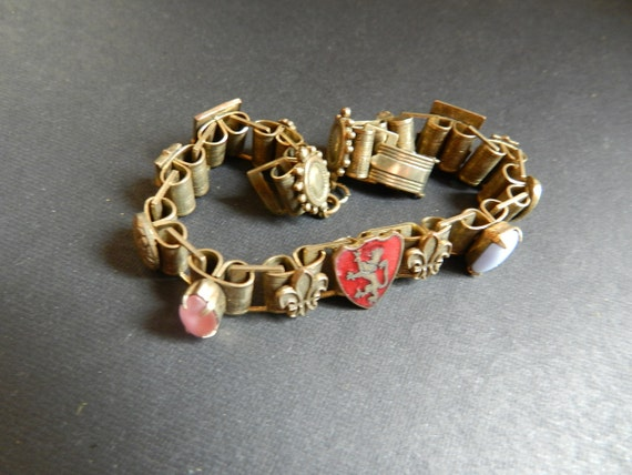 Antique French Art Deco Bracelet with Enameled Shields and Prong Set Semi Precious Stones, French possibly