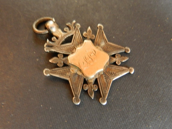 1896 Antique Sterling Silver and 9 K Rose Gold Pocket Watch Fob, Beautifully Hallmarked and Engraved, England