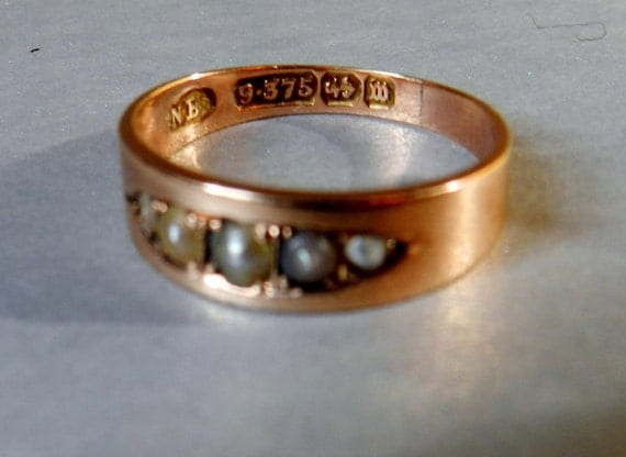1896 Victorian Wedding Band in Antique Rose Gold and Seed Pearls, Gorgeous Antique Alternative Band