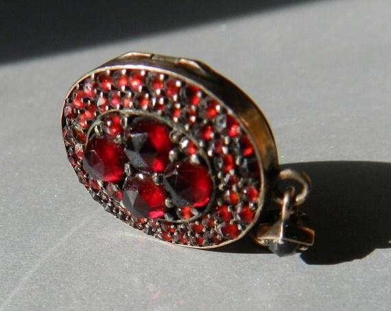 Rare Antique Bohemian Garnet Locket, Antique 9K gold, Authentic Circa mid 1800s