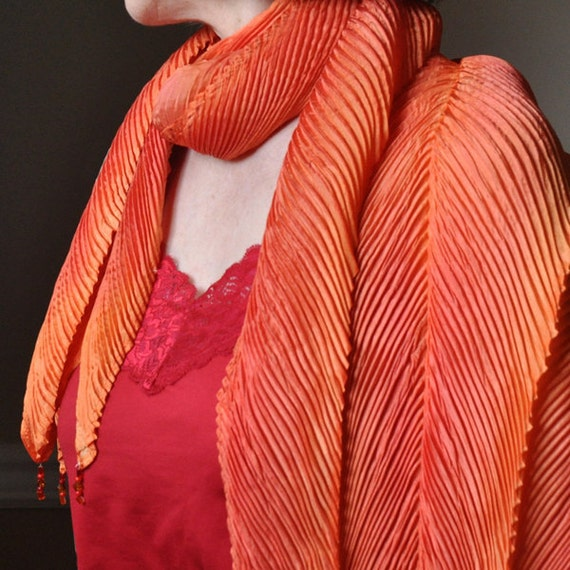 Scarf, Shibori Silk Scarf, Autumn, Fall Scarf, tangerine, orange scarf, yellow, scarf, handmade & pleated scarf, Fall scarf, Arashi Scarf