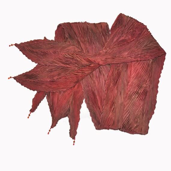 Scarf, Shibori Silk Scarf, Brown Copper, Scarf, Red-brown Scarf, Copper Scarf, handmade Scarf, pleated Scarf, elegant, Arashi Scarf