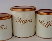 Vintage Decoware Copper  storage canisters set of 3 Cream and Copper color Beautiful canister set retro kitchen