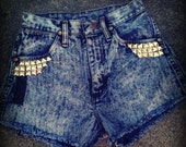 Vintage Acid Wash High Waisted Studded Wrangler Cut-off Shorts size 1
