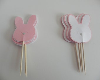 Pink and White Bunny Cupcake Toppers