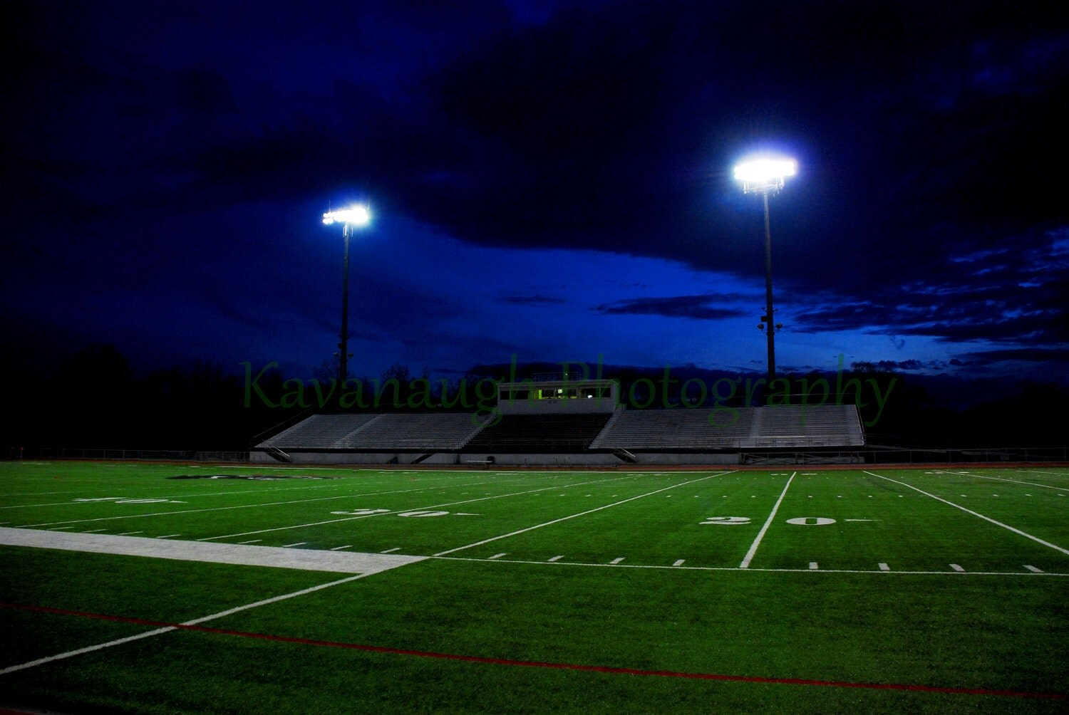 Football Field At Night Photograph