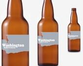 24 Custom Washington Beer Bottle Labels -- Choose Your Brew