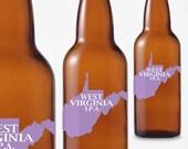 One Dozen West Virginia Beer Bottle Labels -- Choose Your Brew