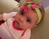 Groovy Baby Hot Pink and Green Peace Headband