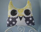 Grey & Yellow Minky Owl Pillow-Sunshine and Rain