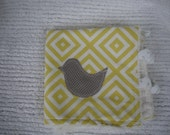Tag Blanket Lovie-Grey and Yellow-Bird and Heart Applique