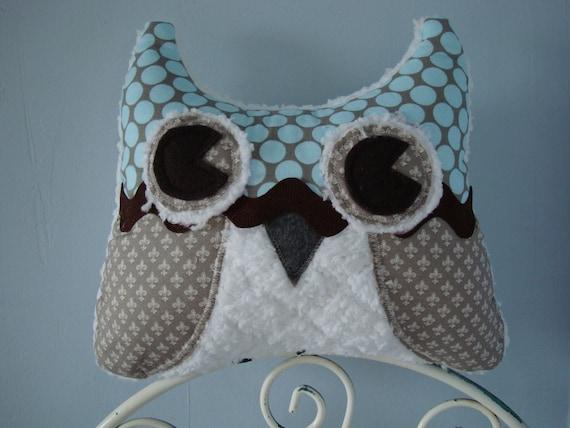 Ultra Soft Plush Owl Pillow-Blue Polka Dots & Grey Fleur-de-lis Cotton Fabric
