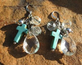 Crystal drop turquoise cross earrings