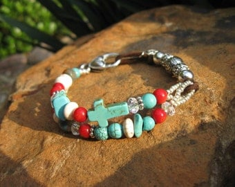 Indian Summer - Turquoise and Red Coral multi strand bracelet