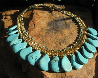 Turquoise Statement Necklace -  Gold (or Silver) - Hand woven necklace - Turquoise Teardrops