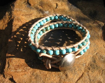 Sky Blue Turquoise Leather Wrap