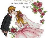Digital PDF file counted aida cross stitch wedding pattern  KK114 111 x 111 stitches