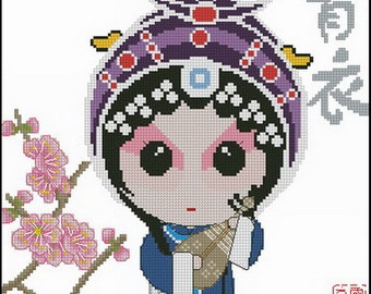 PDF file Chinese opera counted digital cross stitch pattern Z019  127w x 127h stitches