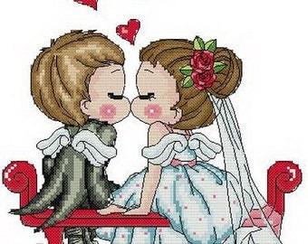 Digital downloadable PDF file counted aida cross stitch wedding pattern baby pattern KK009 100 x 94 stitches
