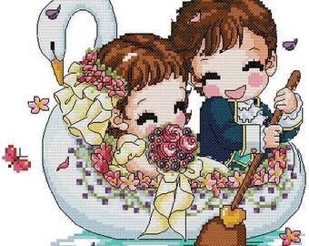 Digital downloadable PDF file counted aida cross stitch wedding pattern baby pattern KK110 110 x 100 stitches