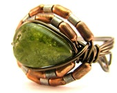 Green Guidance - Peridot Wire Wrap Crystal Ring - Size 7 (Any Size)