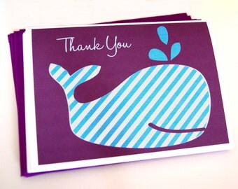Folded blue Whale Thank You cards