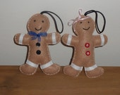 Mr and Mrs Gingerbread man decorations.  Alternative wedding gift.