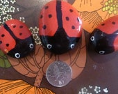 Painted Pebbles - Ladybird family - Paperweight or garden ornament.