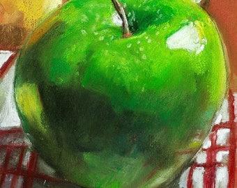 "Fine art print of original pastel fruit still life. Expressive lively colors. Kitchen art digital print. Vernon Grant 8"" x 10""  Green Apple"