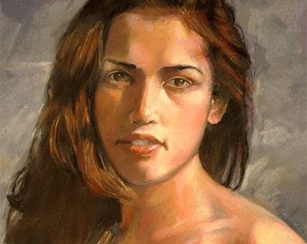 "Woman pastel portrait, expressive realistic likeness on Canson paper by Vernon Grant, original art  20"" x 26"", Christina"