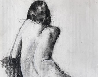 "Figure woman drawing oversize digital print from original charcoal drawing by artist Vernon Grant 24"" x 30"" Pensive, on quality Epson paper"
