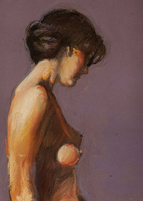 "Female nude pastel figure drawing original art by artist Vernon Grant 11"" x 15"" on Canson paper."