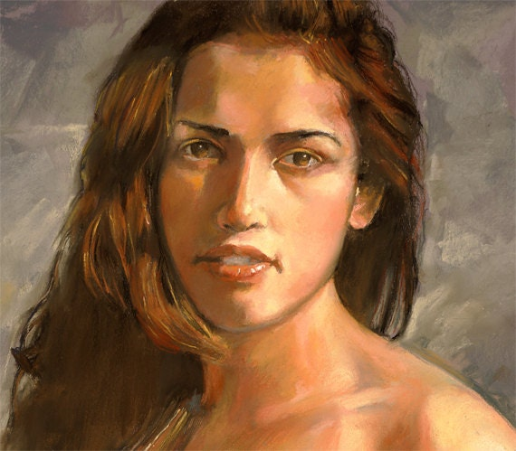"Woman pastel portrait, expressive realistic likeness on Canson paper by Vernon Grant, original art  20"" x 26"", Christina"