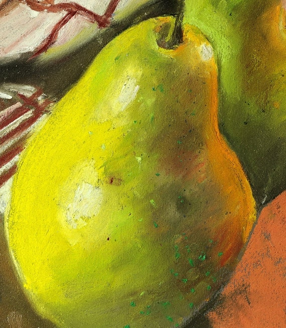 """Fine art print of my original pastel painting, kitchen art with pear, soft pastel by Vernon Grant, One Pear, 8"""" x 10"""""""