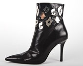 vintage 1991 VERSACE metal metallic leopard print cutout stiletto heel ankle boot