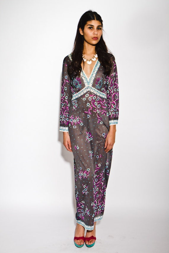 REDUCED was 375 now 280 vintage 1960's collectable Emilio Pucci floral daisy print maxi dress gown