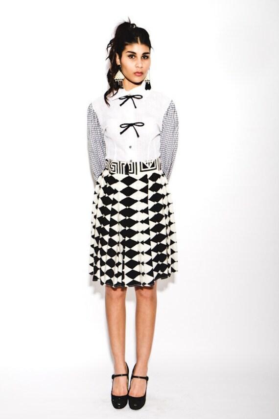vintage 1980s Versace Couture monochrome geometric print pleat silk skirt