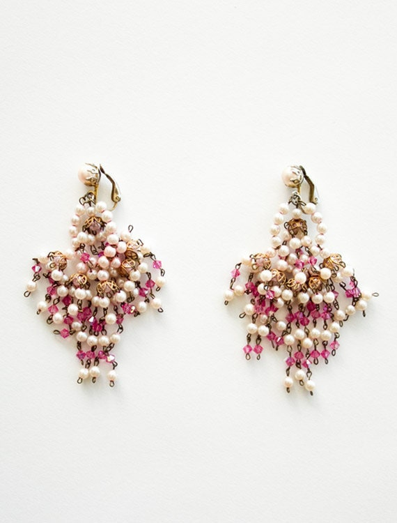vintage 1950s/60s pearl and crystal bead cluster chandelier earrings