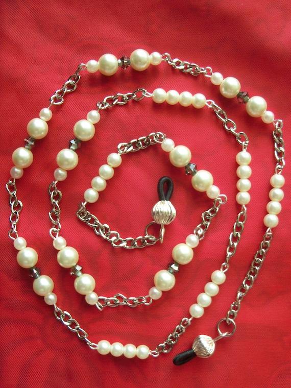 EYEGLASSES CHAIN,  Eyeglass Chain, Glasses Chain, Silver Plated, Glass Pearls, Swarovski Xilion Crystals, Handmade