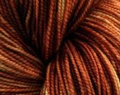 Hand Dyed Yarn, sock weight superwash merino wool, brown yarn