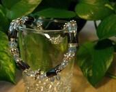 Magnetic Hematite Bracelet- Beaded Wrap Bracelet Light Blue