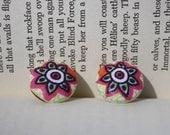 Fabric Button Earrings- Mandala Flower Design- Ethnic, Pink, Orange- stud/post earrings