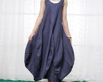 Blue Linen Dress - Flower Shaped Puffy Skirt Maxi Vest Top Sleeveless Casual Summer Dress Unique Design Womens Clothing-C380