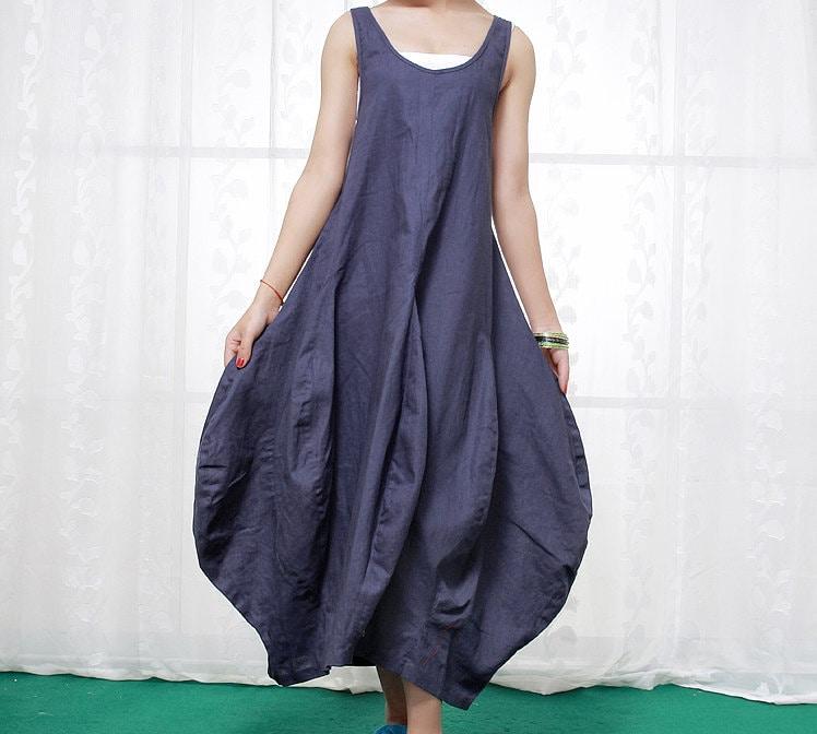Blue Linen Dress Flower Shaped Puffy Skirt Maxi Vest Top