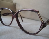 Royal Ritz Sunglasses  eyeglasses frames 1980's Brilliant Burgundy  with silver and gold detailing with gold metal detailing