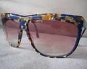 Anne Marie Perris Brilliant Mosaic Orange and Deep Blue sunglasses with RX lenses vintage 1980's