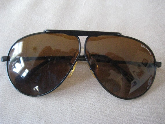 Bolle Black Aviator Irex 100 Sunglasses with amber tinted lenses vintage 1980's