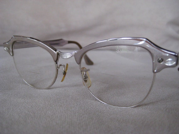 Bausch & Lomb Horned Rimmed Cateye  eyeglasses Vintage 1950's silver metalic frames with leaves and other etching in frames